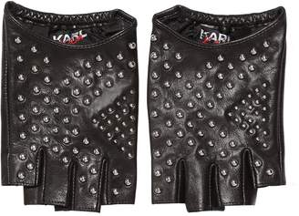 Karl Lagerfeld Kaia X Studded Fingerless Gloves