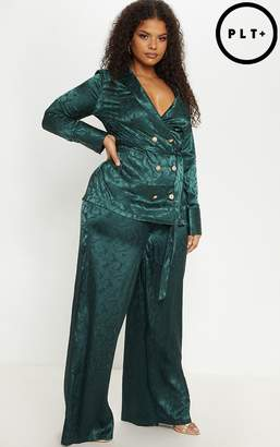 PrettyLittleThing Plus Emerald Green Satin Jacquard Wide Leg Trouser