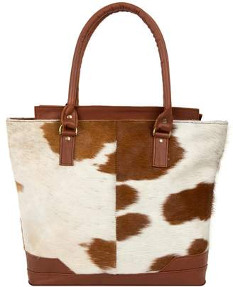 MAHI Leather - Pony Hair Leather Florence Tote In Brown and White