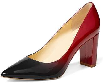 YDN Women's Classic Pointy Toe OL Pumps Slip-On Patent Leather Block Heel Dress Shoes 10