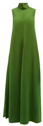 Maison Rabih Kayrouz High Neck Bias Cut Sateen Dress - Womens - Green