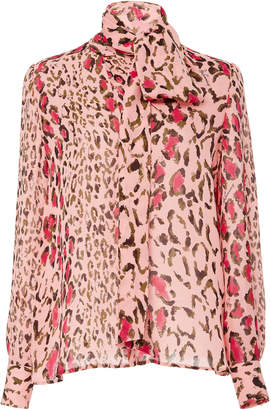 Carolina Herrera Tie-Neck Leopard-Print Silk-Chiffon Blouse