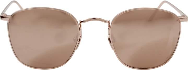 LINDA FARROW Rose Gold Square Sunglasses