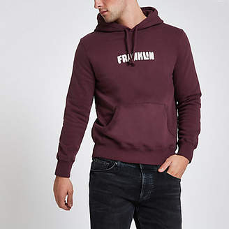River Island Franklin and Marshall burgundy hoodie