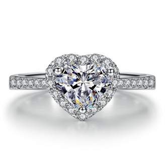 Ring Bling Fashion 18k White Gold Plated Heart Shaped Wedding Engagement with Austria Crystal R17 (brass-plated-gold, 8)