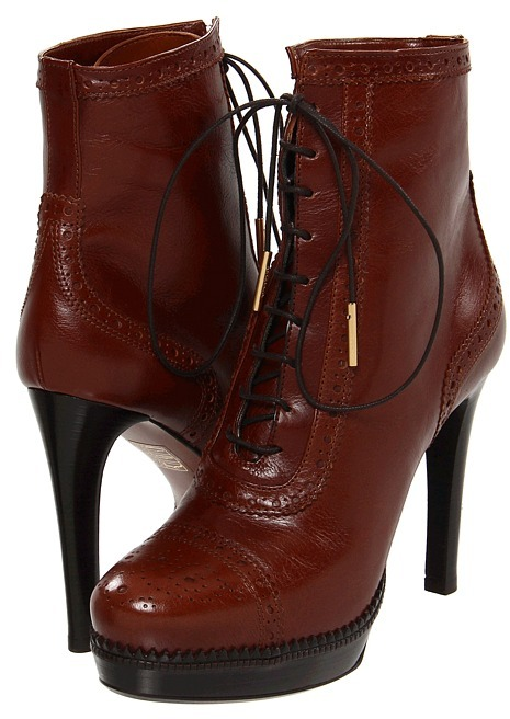 Burberry Brogue Platform Lace-Up Ankle Boots (Walnut Brown) - Footwear