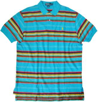 Polo Ralph Lauren Men's Southwest Indian Navajo Stripes Pony Logo Chest Polo Shirt-Blue-M
