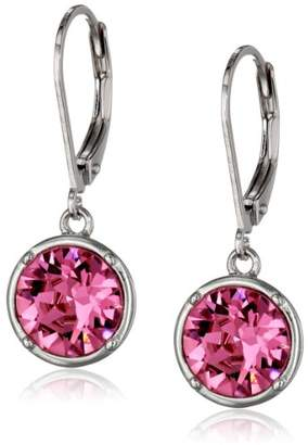 Swarovski Sterling Silver Pink Round Leverback Dangle Earrings Made with Crystal