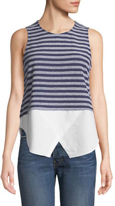 Derek Lam 10 Crosby Sleeveless Striped Tank with Shirttail Hem