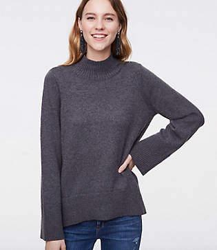 LOFT Petite Mock Neck Swing Sweater