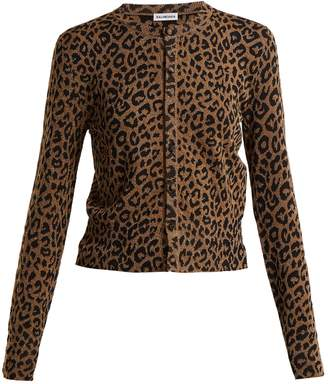 Leopard jacquard cropped cardigan