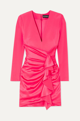 HANEY Lilly Ruffled Silk-crepe And Satin Mini Dress - Bright pink