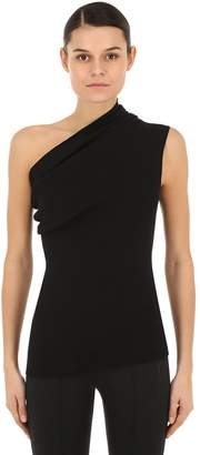Rick Owens Hun One Shoulder Viscose Rib Knit Top