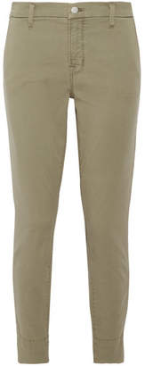 J Brand - Josie Stretch Cotton-blend Twill Skinny Pants - Army green $200 thestylecure.com