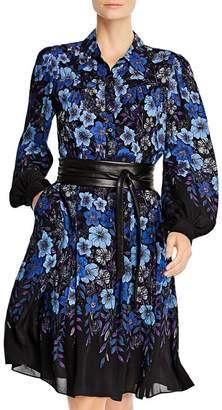 Elie Tahari Hellen Belted Floral-Print Dress