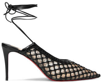 Christian Louboutin Roland Mouret Cage And Curry Mesh And Woven Leather Pumps - Black