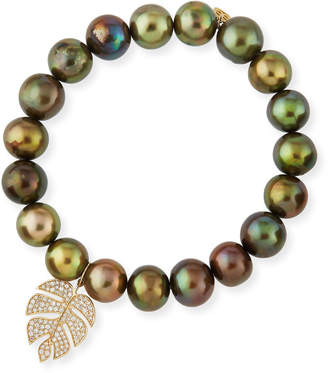Sydney Evan Olive Pearl Beaded Bracelet with Diamond Monstera Leaf Charm