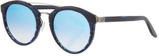 Barton Perreira Dalziel Round Universal-Fit Sunglasses, Midnight/Pewter/Arctic Blue