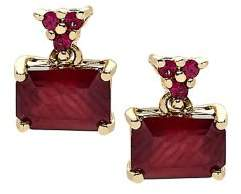 Lord & Taylor Ruby and 14K Yellow Gold Stud Earrings