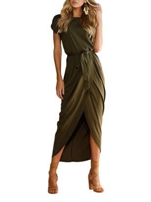 HIKARE 2017 Women's Summer Short Sleeve Slim Fit Sexy Split Midi Bodycon Pencil Dress