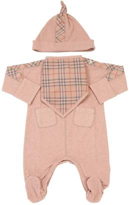 Burberry Cotton Jersey Romper, Bib & Bag