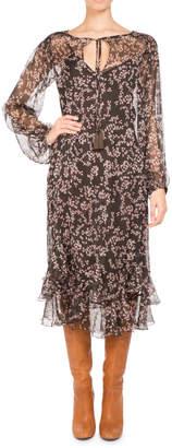 Pascal Millet Floral-Print Chiffon Long-Sleeve Midi Dress Brown