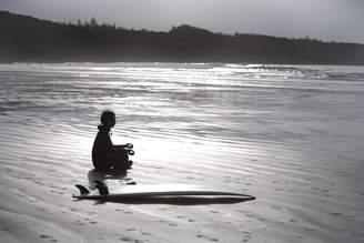 Columbia Wall Art Import Surfer Meditating On Beach, Cox Bay Near Tofino, British Columbia, Canada Poster Print (34 x 22)