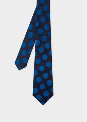 Paul Smith Men's Dark Navy Polka Dot Silk Tie