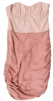 Alice + Olivia Leather Ruched Mini Dress