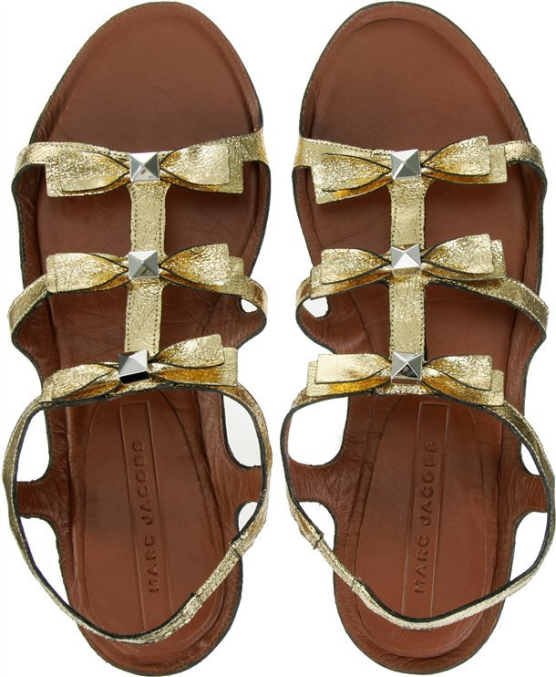 Marc Jacobs Gold Toned Bow Detail Sandals