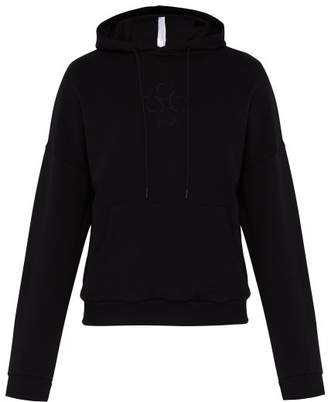 Cottweiler Lotus Print Hooded Cotton Sweatshirt - Mens - Black