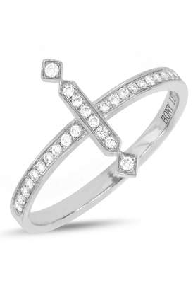 Bony Levy 18K White Gold Pave Diamond Vertical Bar Ring - Size 7