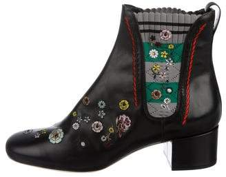 Fendi Floral Embroidered Ankle Boots