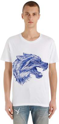 Gucci Pen Effect Wolf Printed Jersey T-Shirt