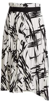 Balenciaga Abstract Print Pleated Midi Skirt - Womens - Black White