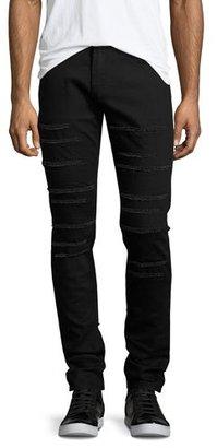 Alexander McQueen Skinny-Leg Slashed Denim Jeans, Black $495 thestylecure.com