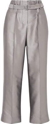 Giorgio Armani Cropped Metallic Silk-blend Straight-leg Pants - Gray