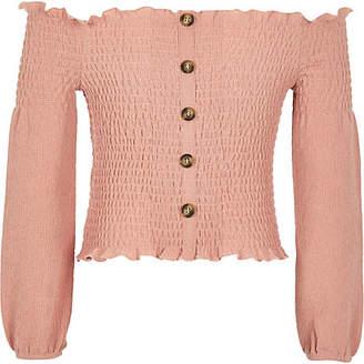 River Island Girls pink shirred bardot top