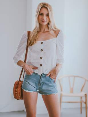 Goodnight Macaroon 'Glynda' Eyelet Button Front Square Neck Top
