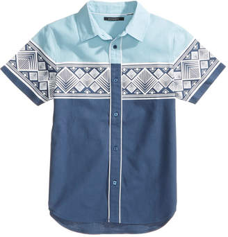 Sean John Prism Tile Printed Cotton Shirt, Big Boys