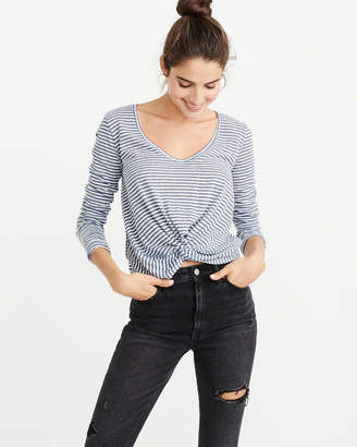 Abercrombie & Fitch Knot-Front Long-Sleeve Tee