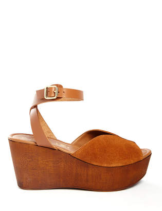 Seychelles Laugh More Tan Wooden Wedge Platform Sandal