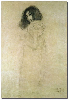 "Gustav Trademark Global Klimt 'Portrait of a Young Woman 1896-97' Canvas Art - 24"" x 16"""