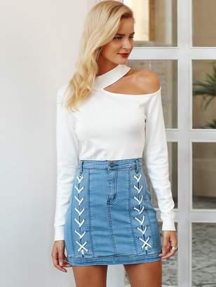Shein Simplee Garment Eyelets Lace Up Denim Skirt
