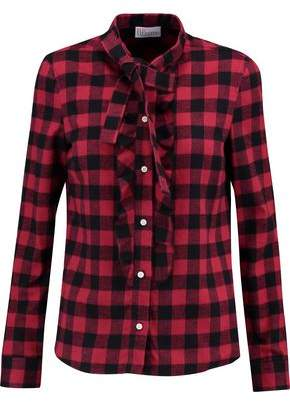 RED Valentino Pussy-Bow Ruffle-Trimmed Checked Brushed Cotton Shirt