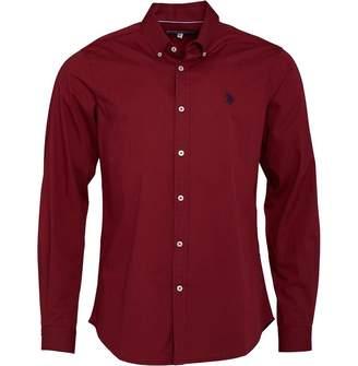 U.S. Polo Assn. Mens Clara Poplin Shirt Tibetan Red