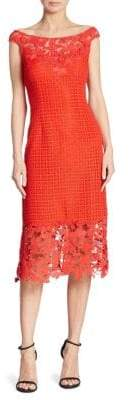 Kay Unger Floral Lace Sheath Dress