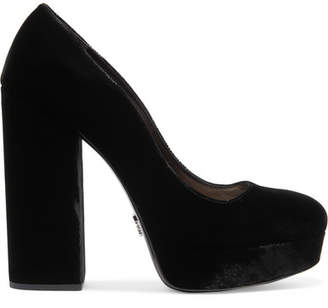 Prada Velvet Platform Pumps - Black
