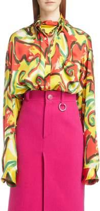 Balenciaga Couture Floral Print Satin Crepon Shirt