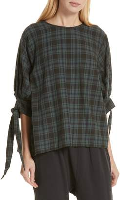 The Great The Bow Sleeve Plaid Shirt